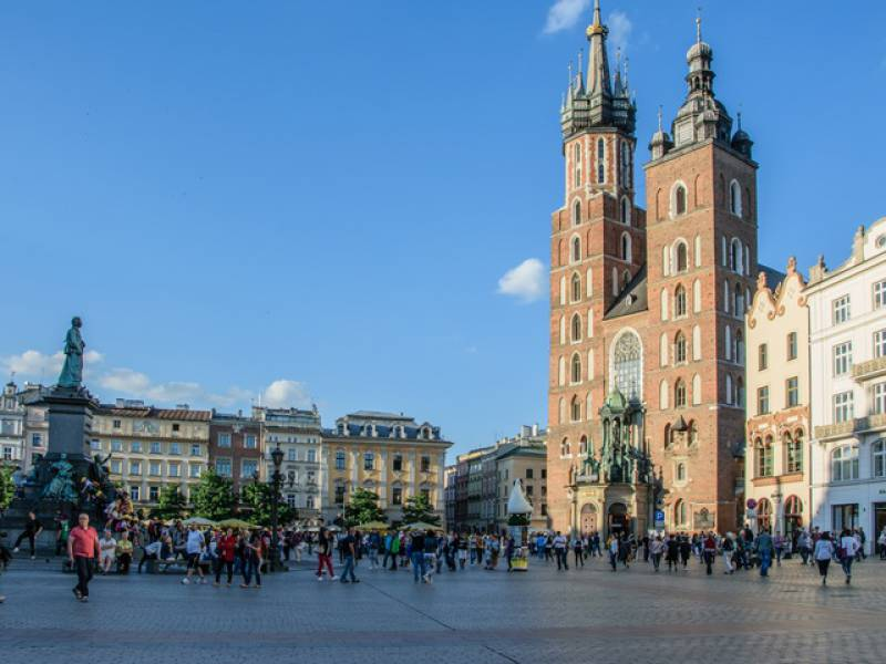 a picture of Krakow Market Square during the day