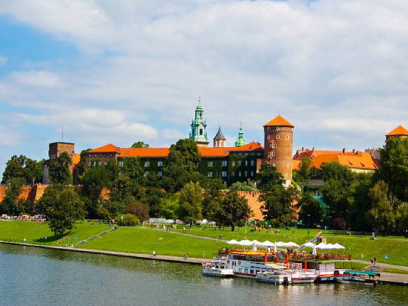 view over Vistula river and Wawel castle