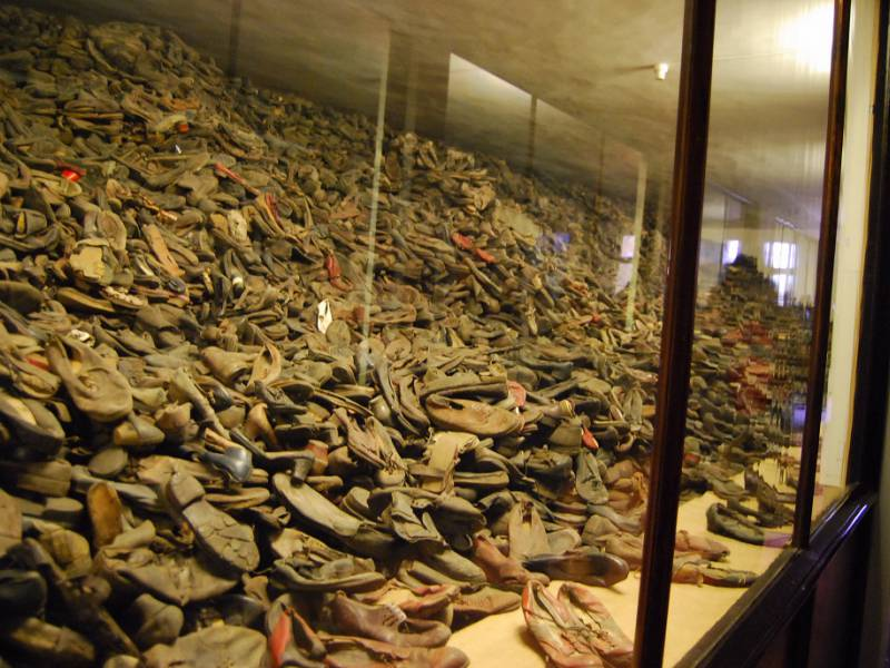 a room full of shoes at Auschwitz