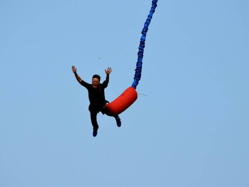 man doing bungee jump