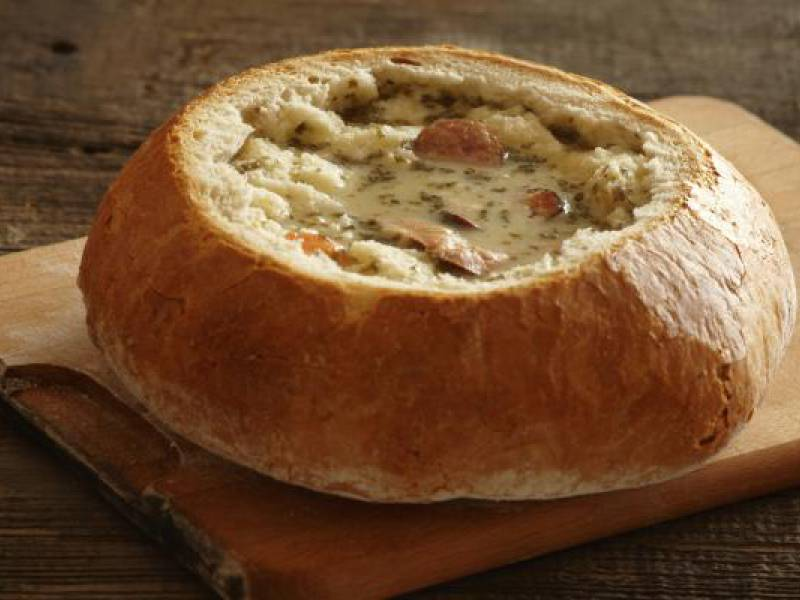 picture of zurek soup served in bread bowl